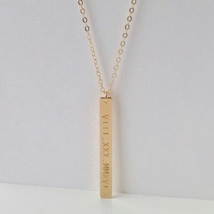 Jewelry - 14K Gold Filled Vertical Custom Engraved Necklace